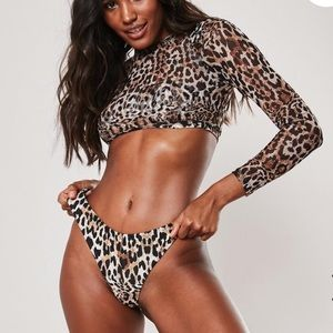 Brown leopard print 3 piece bikini set